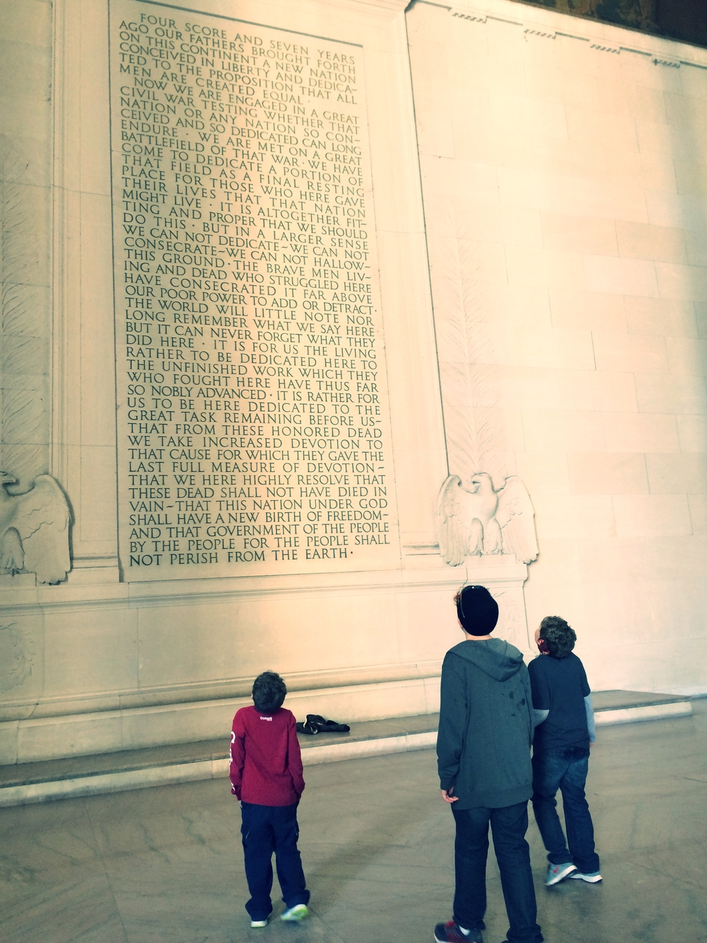 Jude, Ben and Sam at the Lincoln Memorial, Washington, D.C.