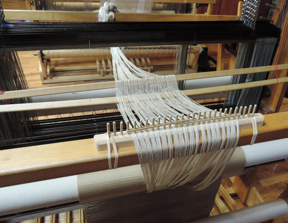 Dressing the loom.