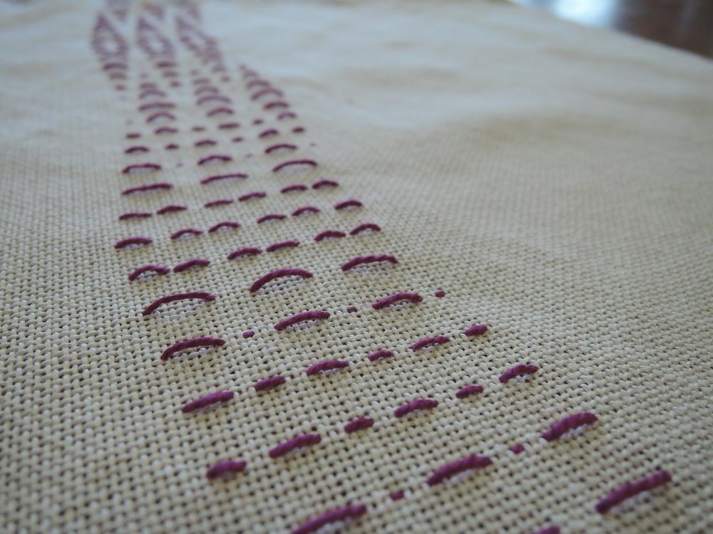 Partial woven shibori study detail.