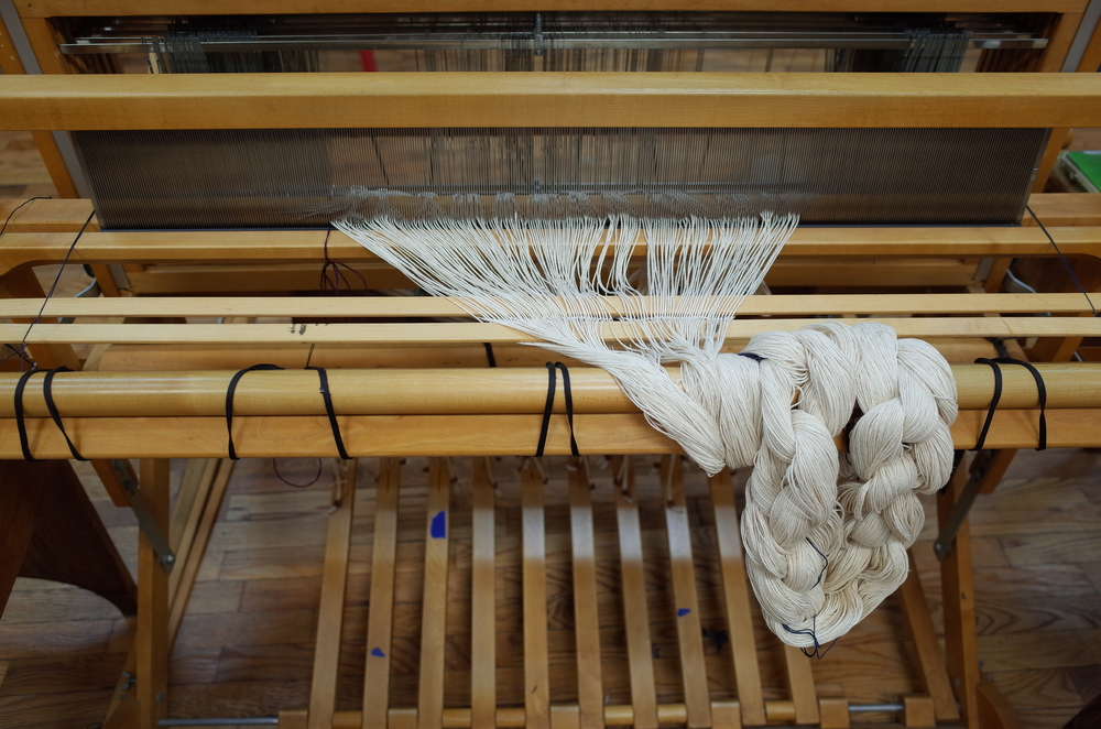 Threading the loom in what I call the rapunzel stage.
