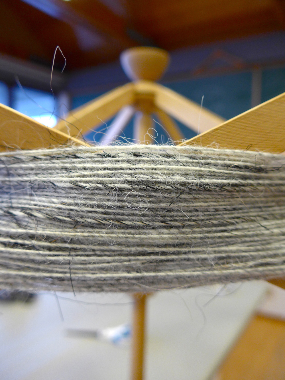 Icelandic wool and horse hair yarn on the umbrella swift.