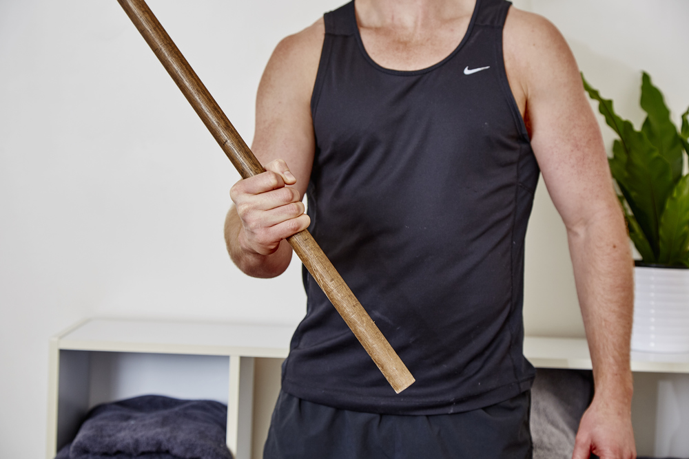 one of the exercises that we commonly prescribe for tennis and golf elbows uses a broomstick whereby patients need to rotate the wrist while holding the broomstick to strengthen the muscles & tendons in the forearm.