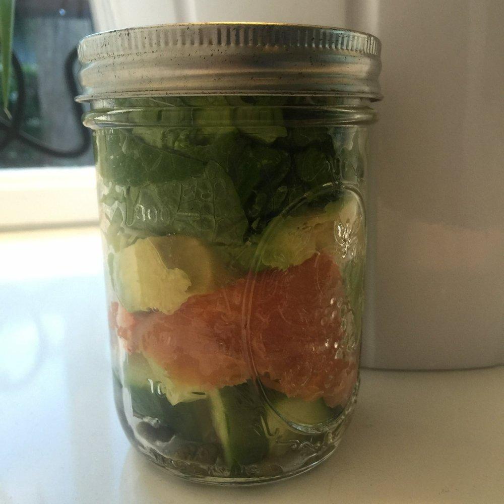 smoked salmon salad in a jar