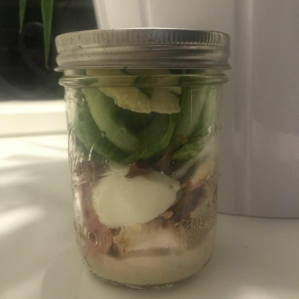 chicken caesar salad in a jar