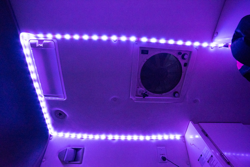 I got your mood lighting right here. I lined the ceiling with Phillips Hue Lightstrips 2.0. Using an app I can have them change to virtually any color imaginable, or I can have it gently fade between shades, or listen to music and change with the beat (which gets annoying almost immediately). I have a couple remote controls so the system doesn't need to be paired with the app or connected to the internet for the basic modes.