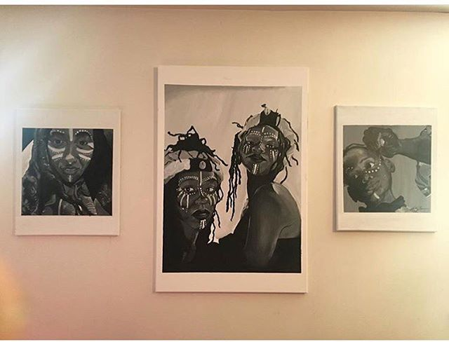 """""""War Ready"""" By Shay Will  Black n white 3 Piece Set  Acrylic on Canvas"""