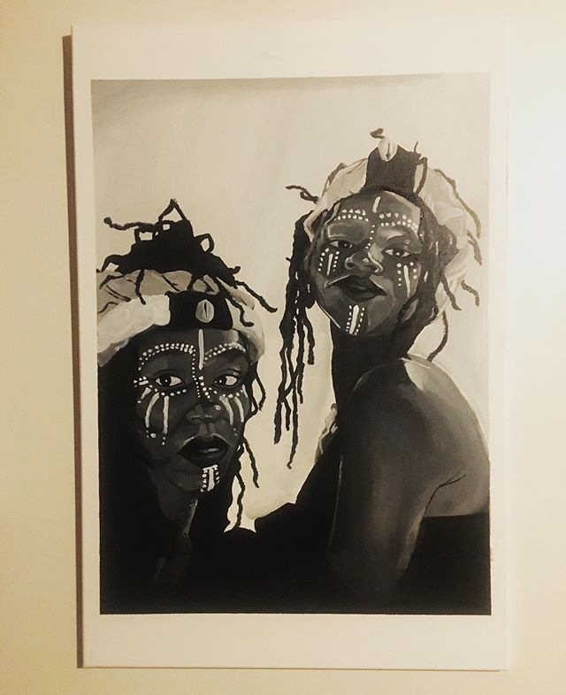 """""""War Ready"""" by Shay Will. """"Crowns"""" 2 out of 3 . (24X36) Acrylic on Canvas"""