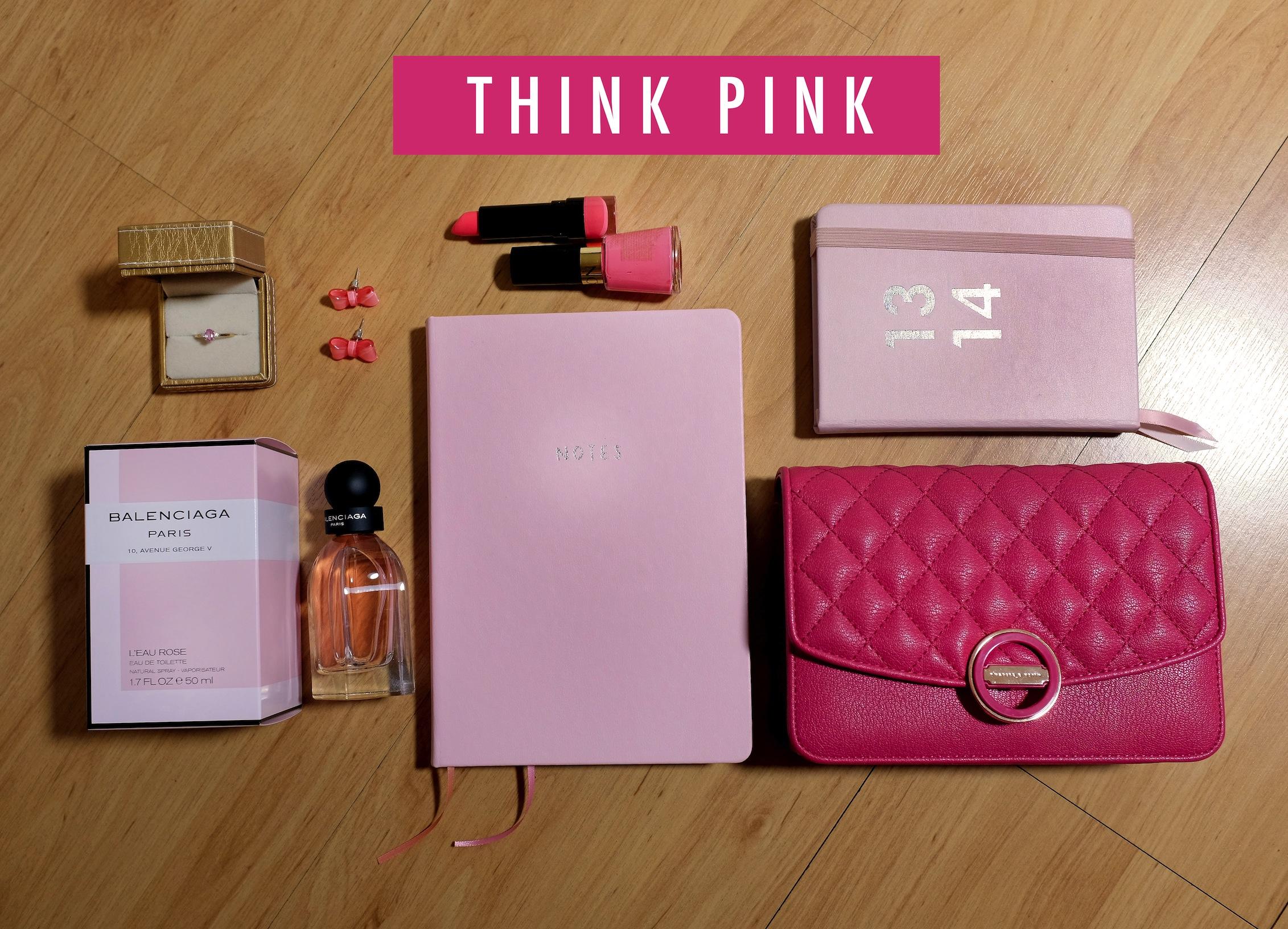 pink, cosmetics, notebook, balenciaga, Charles & Keith, Kikki K, cute, kawaii