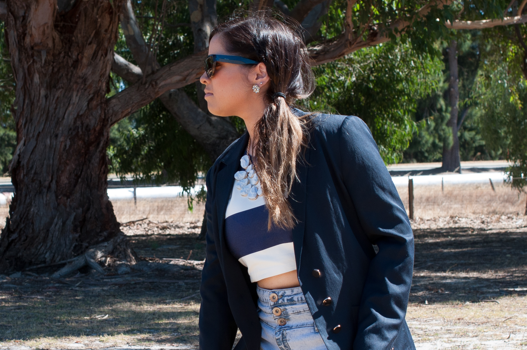 ASOS, Colette, Crop top, crop, denim, denim shorts, shorts, blue, navy blue, stripe, Prada, sunglasses, Forever 21, earrings, Forever New, blazer, agate, stone, Nezuki, Perth, Perth blogger, fashion, street style, makeup, nails, cute