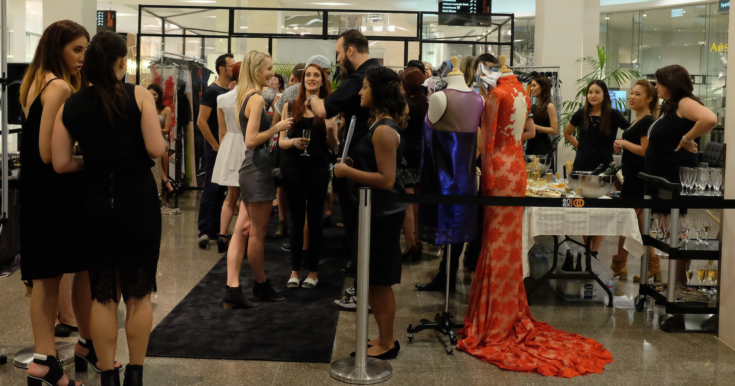 Festival of frocks, enex100, Hatch shop, Perth, Fashion, Ruth Tarvydas, Ange Lang, Zhivago, Garth Cook, Steph Audino, Jomay Cao, Betty Tran, VIP invite, fashion, dress, couture, gown, evening dress, jewellery, jewelry, shoes, heels, champagne, floral, sequin, sparkle, jewels, makeup, Napoleon Perdis, Nezuki, Perth blogger, Perth fashion, Australian Designer, Vanessa Collars