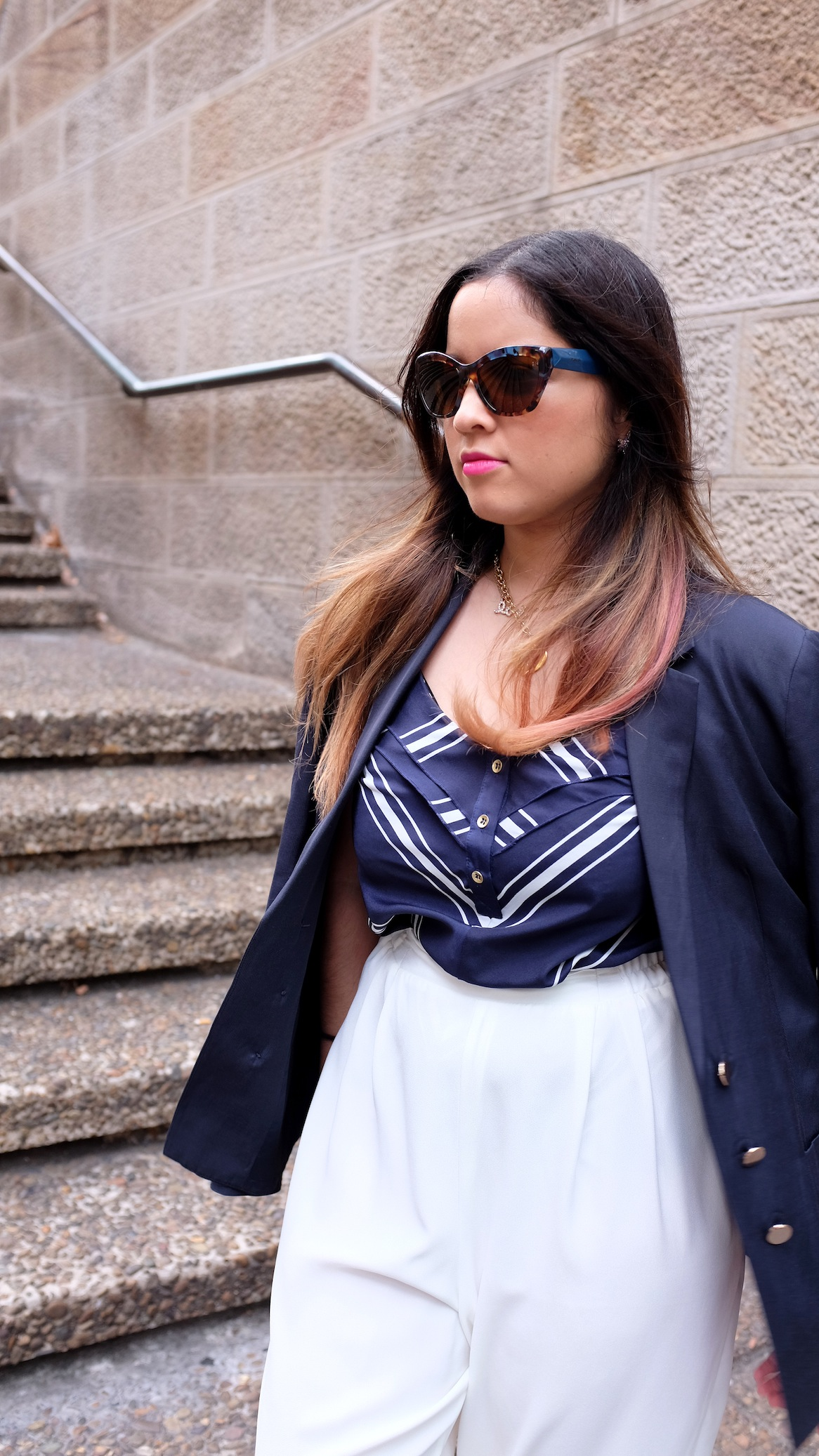 nezuki, fashion, vintage, forever new, white, navy, fashion, design, sydney, town hall, outfit, street style, slide, leopard, ocelot, lipstick, sunglasses, prada, style, blogger, photography, thrift, second hand, get the look, outfit idea, shoes, flats, makeup, hair, ombre, balayage, chic, smile, eyes