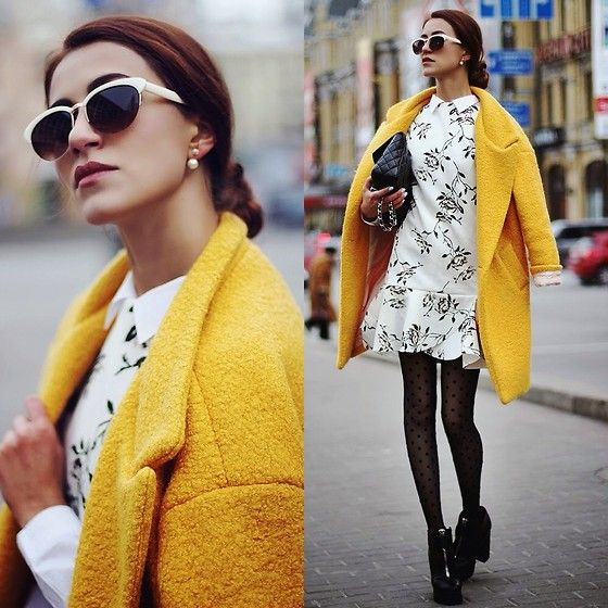 coat, winter, nezuki, warm, style, fashion, street style, jacket, get the look, red coat, blue coat, yellow coat, outfit, ootd, trends, fashionable, classy, stylish, chanel, sunglasses