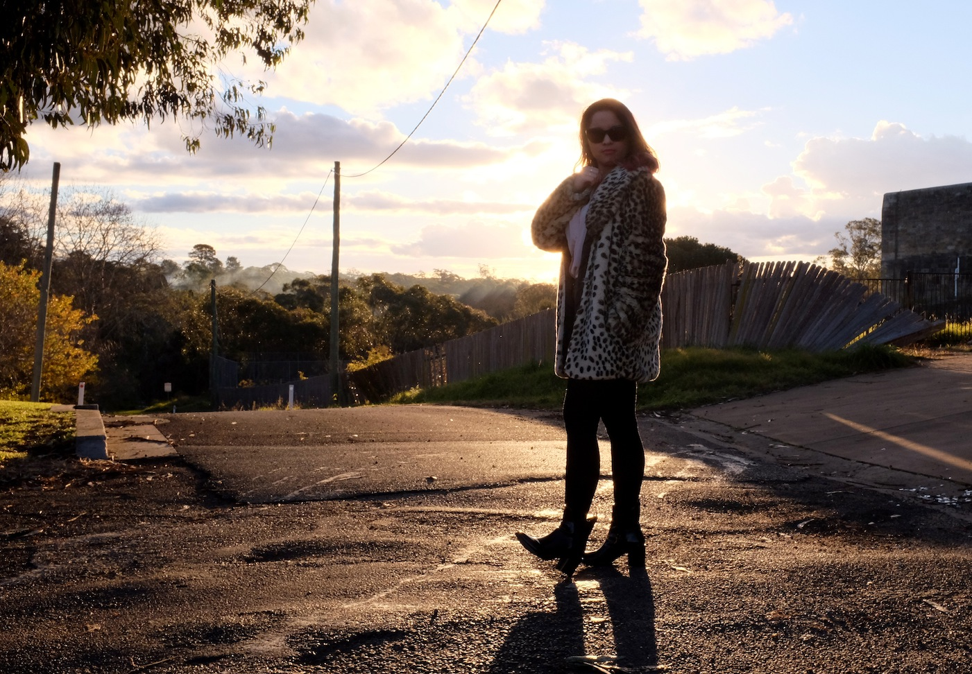 Berrima, NSW, Sydney, Winter Solstice, Southern Highlands, Photography, travel, fashion, leopard, vintage, sunset, blogger, style, ootd, leather, Portmans, Sportsgirl, ZU shoes, ZU, pink hair, hair makeup, Prada, sunglasses, boots, style, shorts, tights, stockings, winter, winter fashion