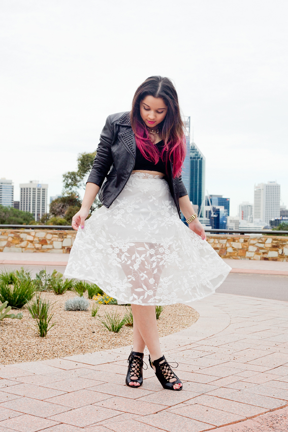 nezuki, floral, leather, punk, studs, pink hair, pretty. perth, kings park, fashion, photography, fashion photography