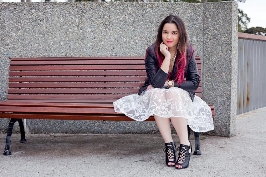 nezuki, floral, leather, punk, studs, pink hair, pretty. perth, kings park, fashion, photography, fashion photography