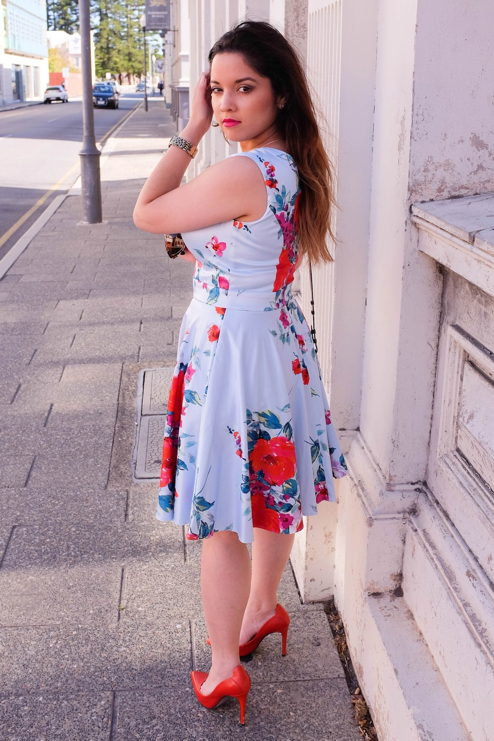 nezuki, fremantle, mimco, review, floral, fiesta, leather, orange heels, floral print, dress, day dress, guess, fashion, style, fashion photography, vanessa collars, stylish, perth, sydney, sydney blogger, fashion blogger, cute, kawaii, street style