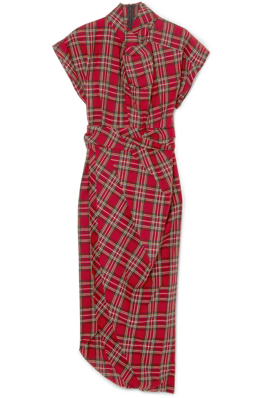 A.W.A.K.E.  High-neck draped tartan cotton dress