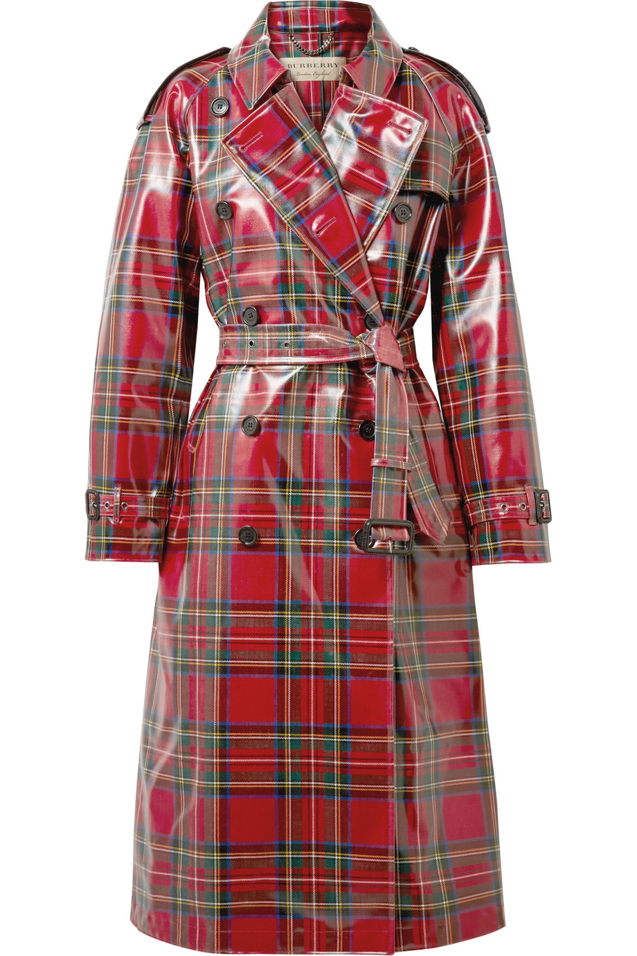 BURBERRY laminated tartan trench coat