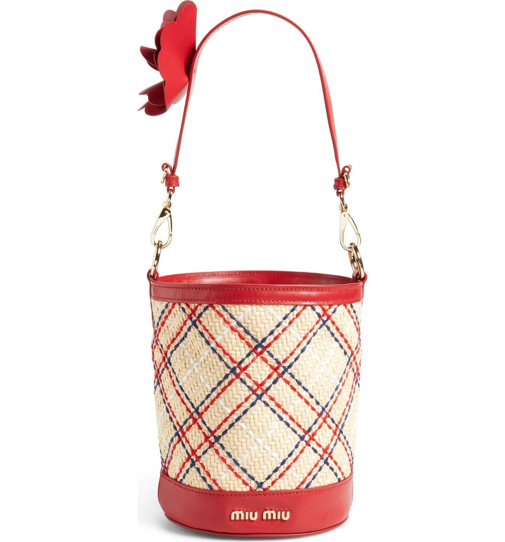 MIU MIU  Embroidered-raffia bucket bag