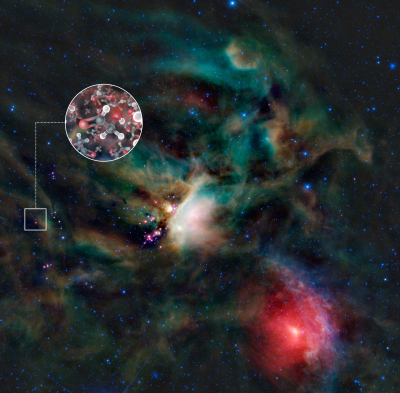 Other organic molecules (glycoaldehyde) discovered by the radio telescope array, ALMA, in 2012. ALMA (ESO/NAOJ/NRAO)/L. Calçada (ESO) & NASA/JPL-Caltech/WISE
