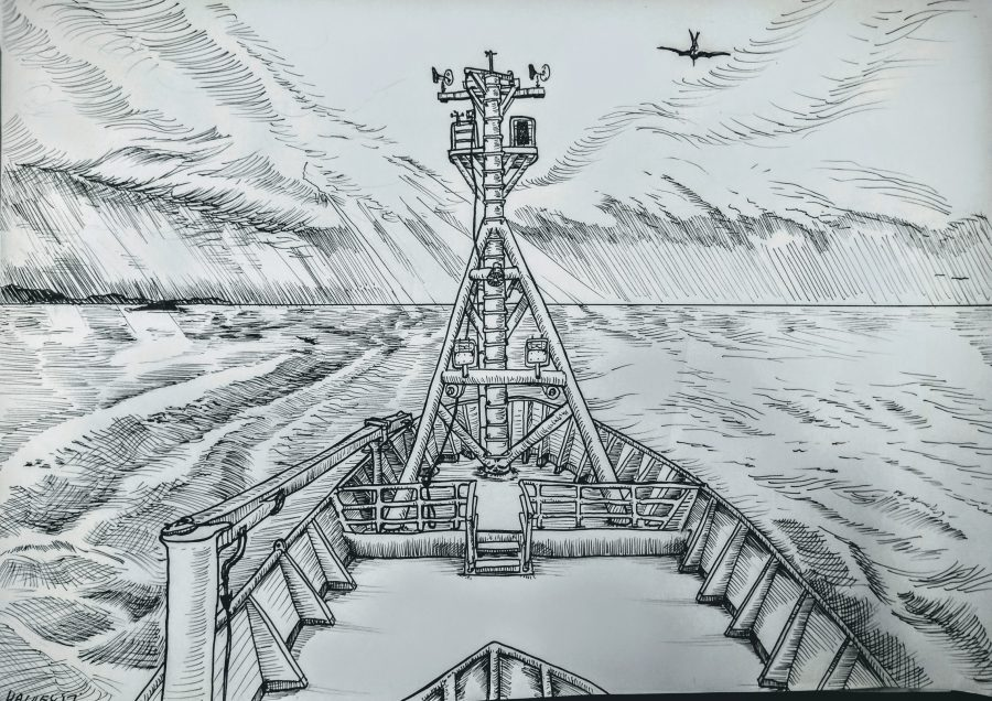 View of the foredeck and foremast from Deck 4. Off to the left was the Port Macquarie coast, blanketed by coloured storm clouds that gave way to rays of sun lighting up golden patches on the ocean. Three terns flew overhead, while drawing, which were drawn less than satisfactorily. Pen ran out drawing the right half.