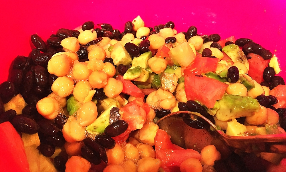 Super easy chickpea and bean salad