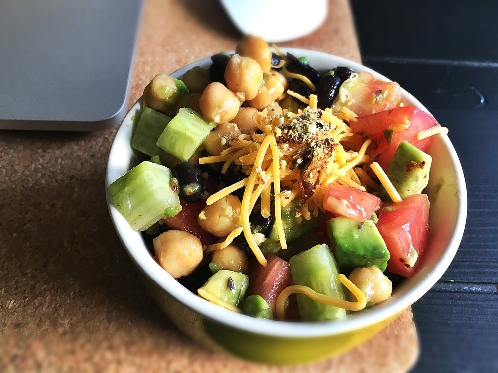 One serve of chickpea and bean salad