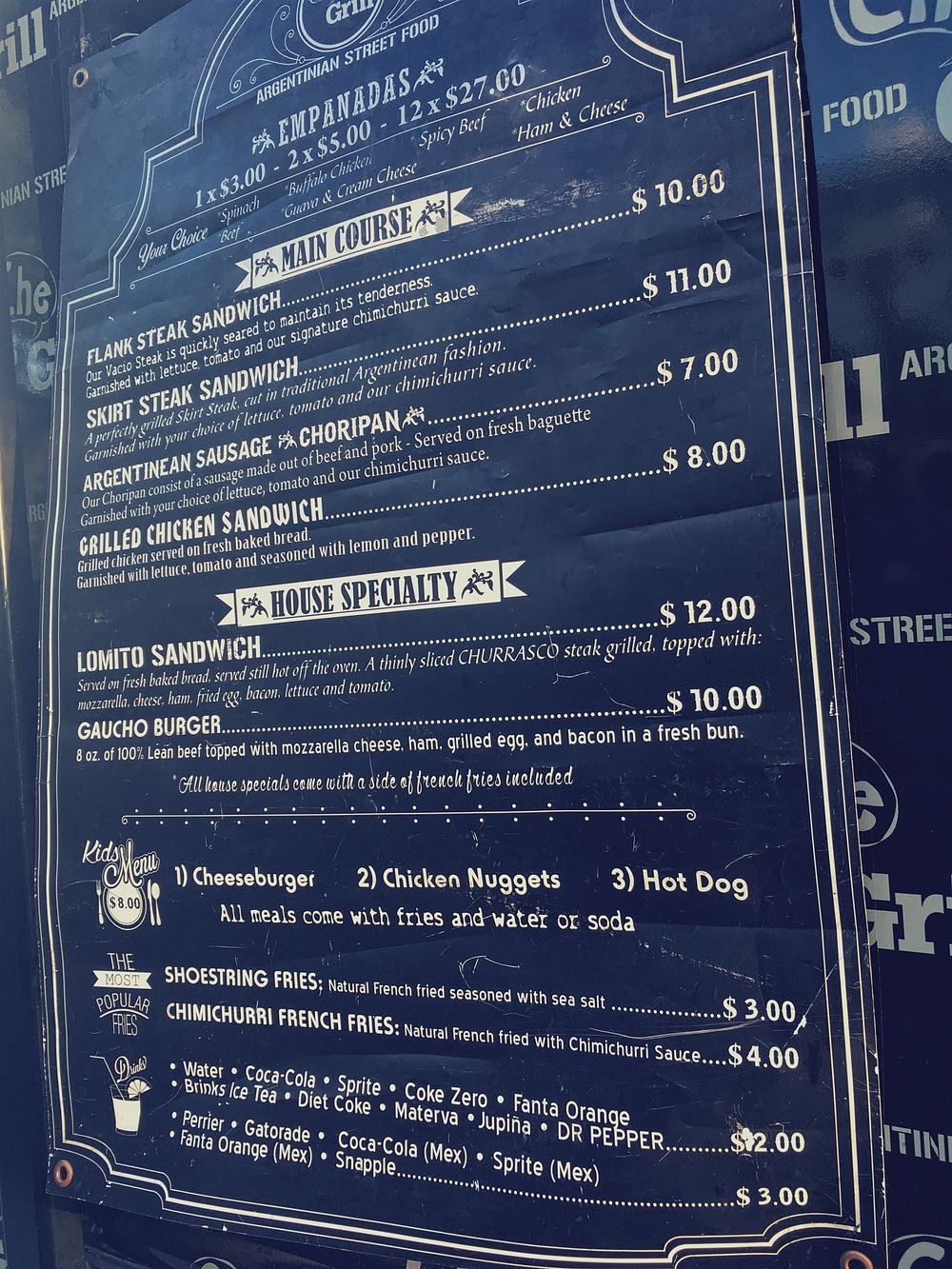 Che Grill Food Truck Menu and Price