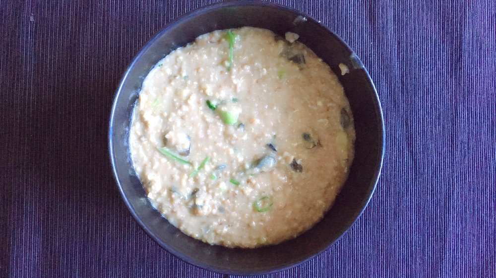 Replacing rice with steel-cut oats - my asian alternative century egg porridge/congee.