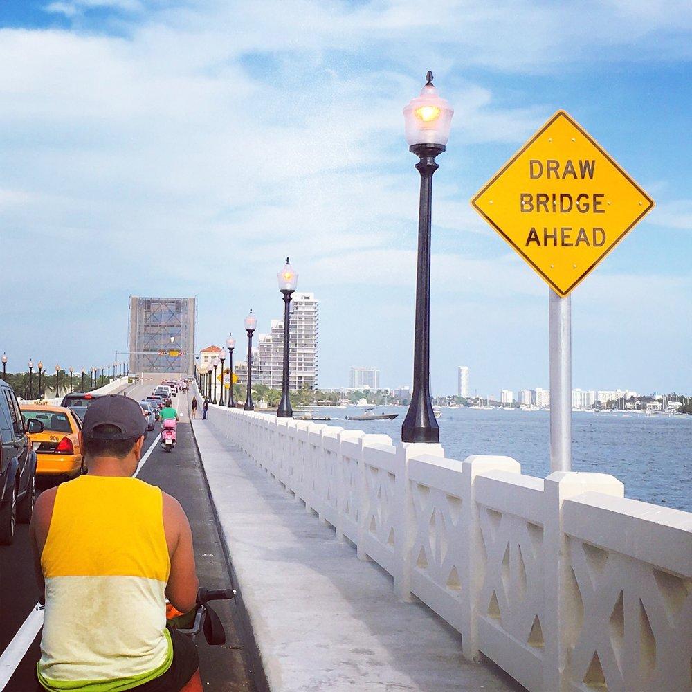 Taking bike share rides into Miami Beach across the drawbridge.