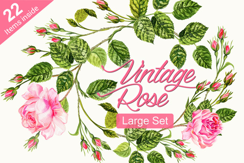 Vintage Rose Set Personal Use License Elena Belokrinitski