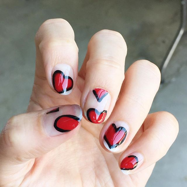 What? So cute. Loving these heart nails by @stephstonenails ❤️❤️ #reglam