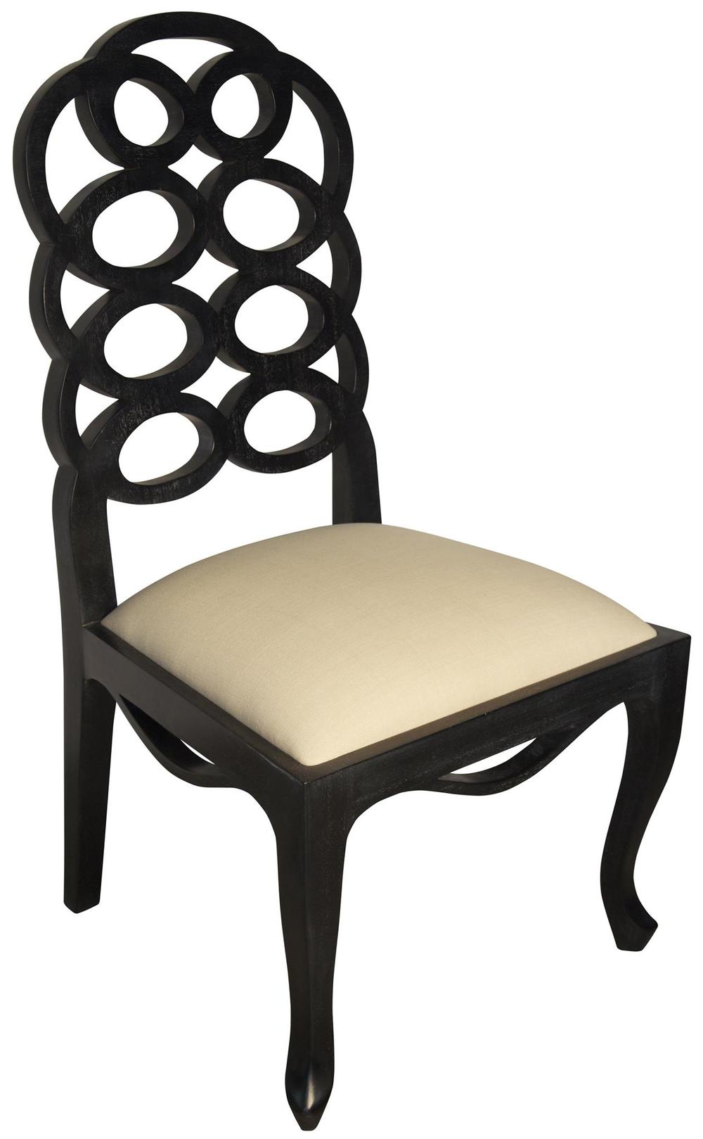Oval Back Side Chair, Hand Rubbed Black