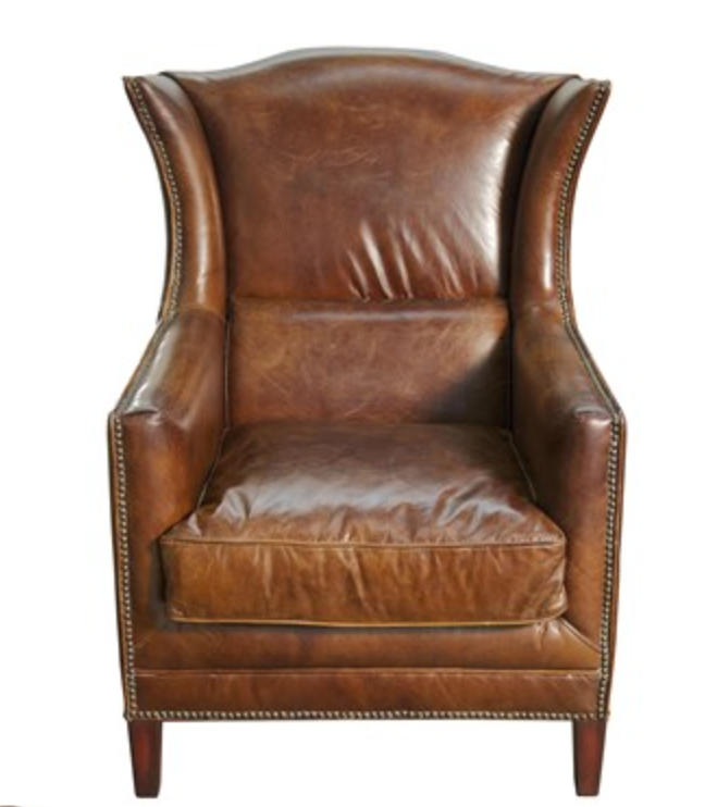 curvy leather wing chair