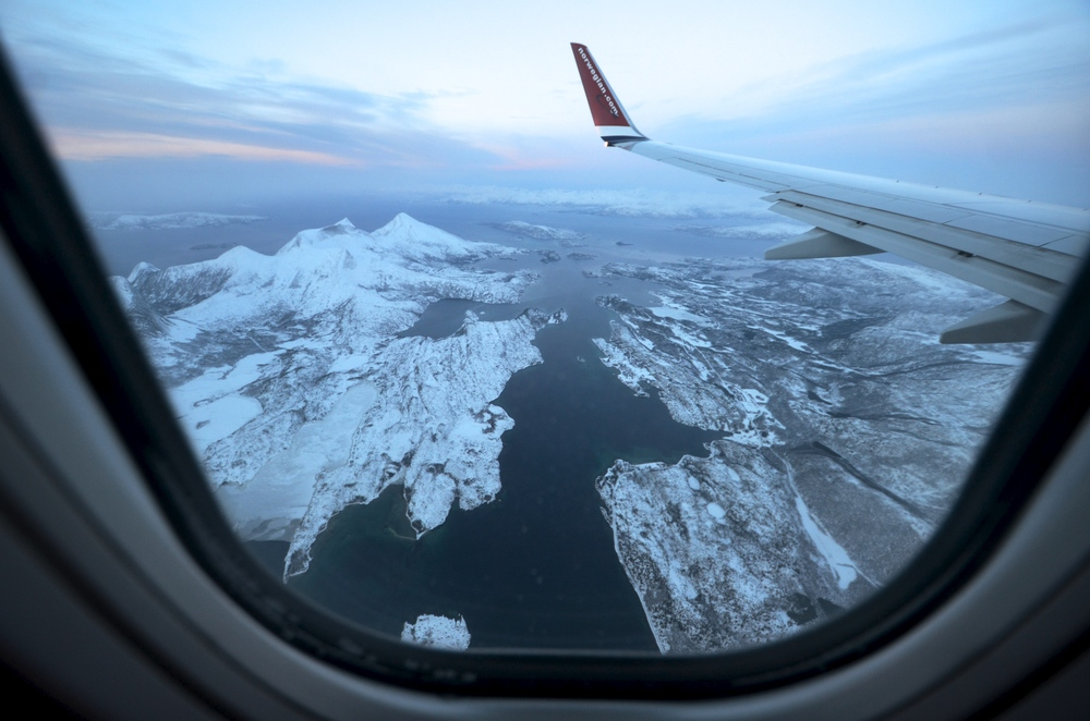 Flying into the Arctic. Narvik, Norway.