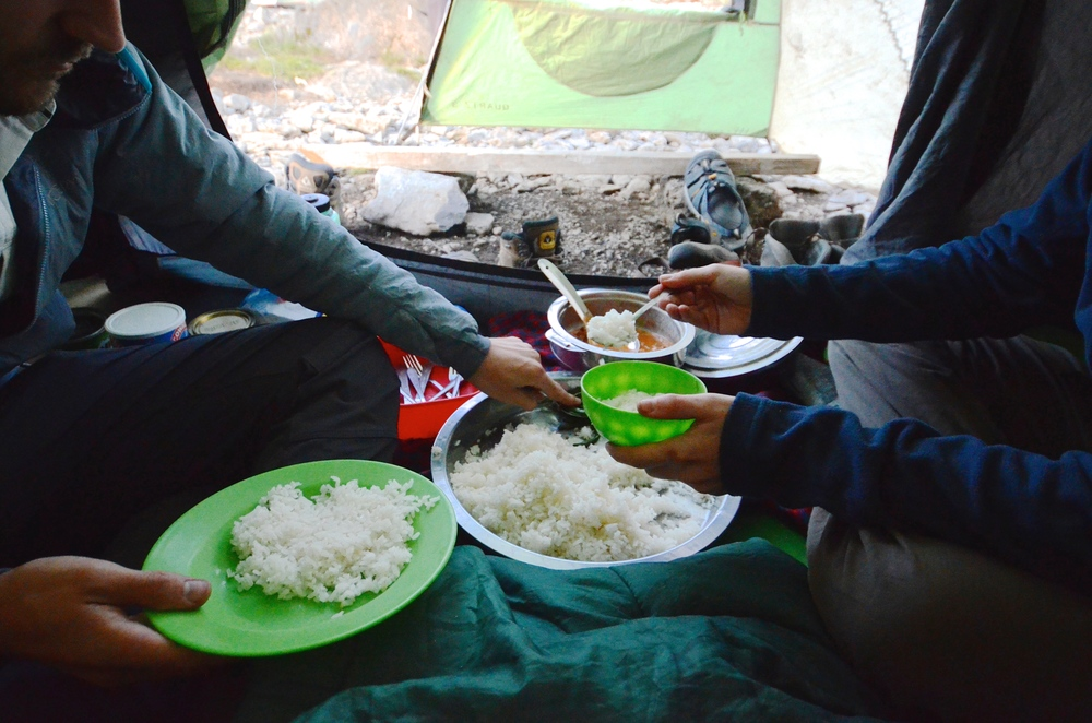 A budget climb up Machame route meant no communal dining tent; instead, the four of us on the climb piled into one sleeping tent to eat our dinners and breakfasts