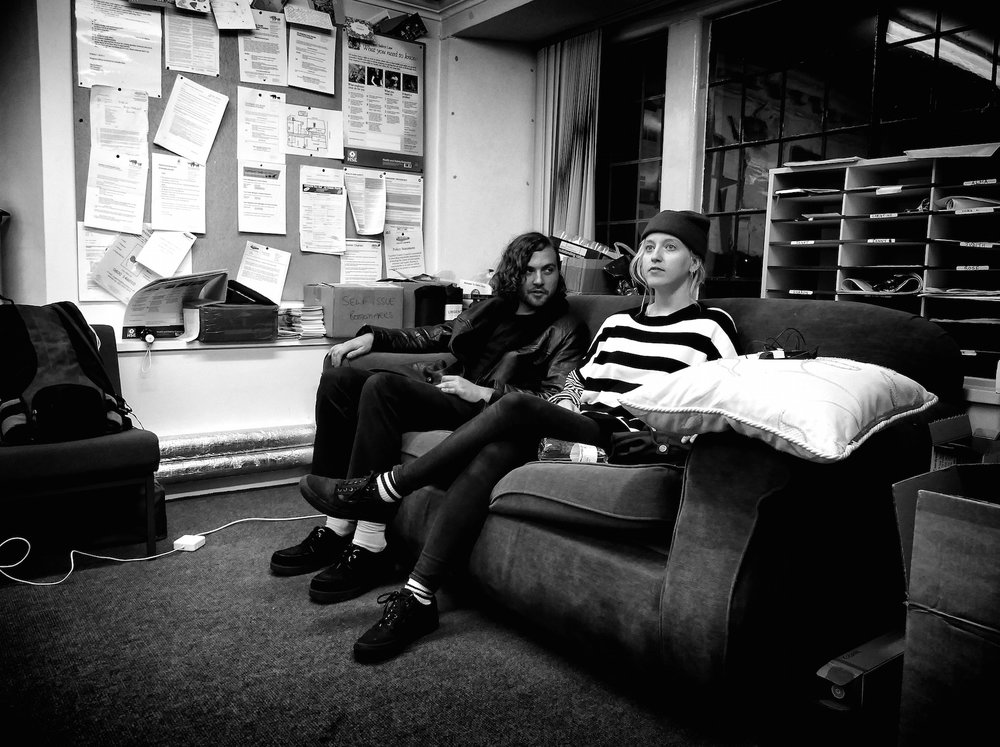 Stevie Parker and Isaac Jones backstage, UK tour 2017