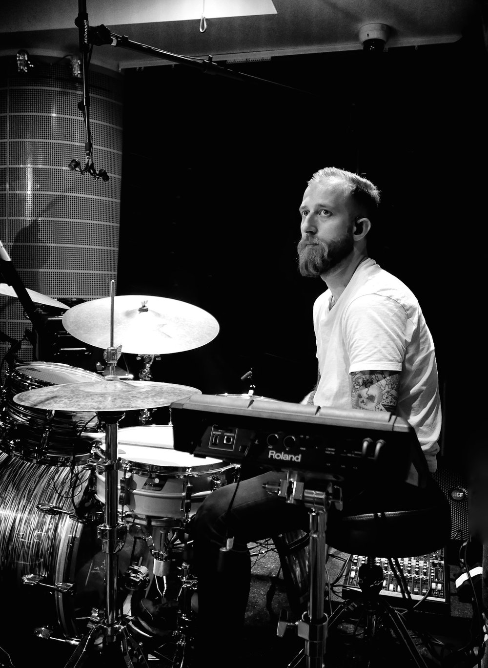 Jonny Brister, drummer with Mirror Fury, London 2017