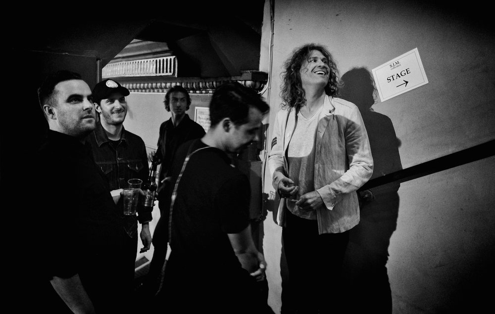 Dave Keuning and band, about to go on stage, O2 Academy Newcastle 2019