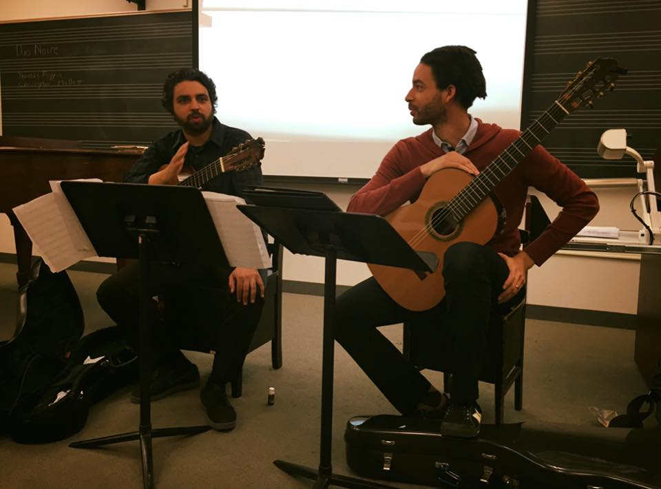 Duo Noire lecturing at Juilliard.