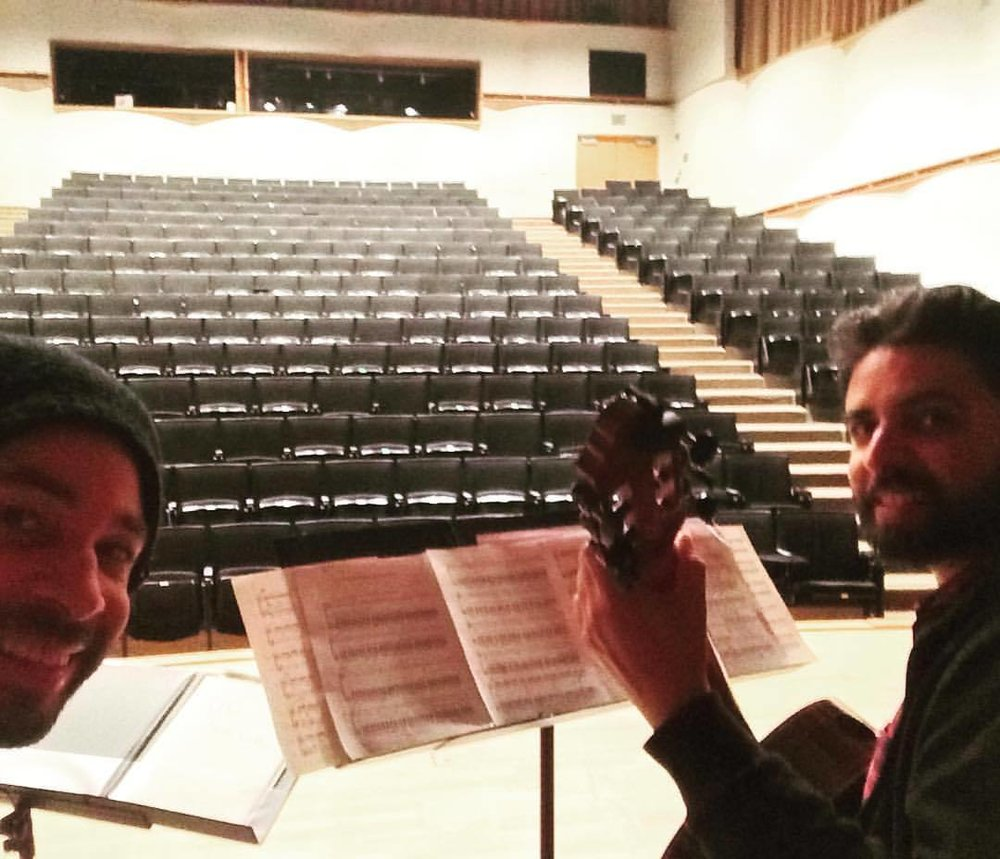 "Tonight's the night! Duo Noire is premiering THREE incredible new pieces at UC Santa Cruz's April in Santa Cruz Festival! Joining us on stage will be our friends ""backing tracks,"" ""slide guitar,"" and ""spoons???!""  :-p #gityrazaz #gabriellasmith #marykouyoumdjian #classicalmusic #newmusic #classicalguitar  (at UC Santa Cruz)"