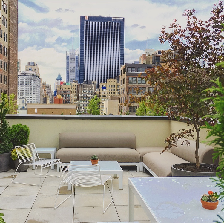 A sunny rooftop overlooking New York's midtown.