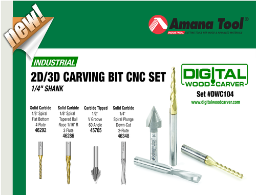 DWC104 - 4pc  2D-3D Carving Bit Set