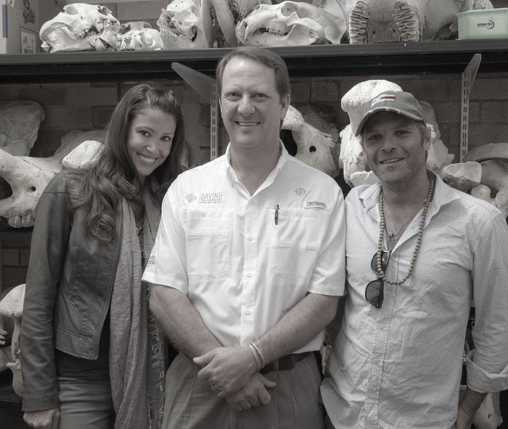 Dr. Steenkamp took us into a room full of rhino skulls to take this photo.