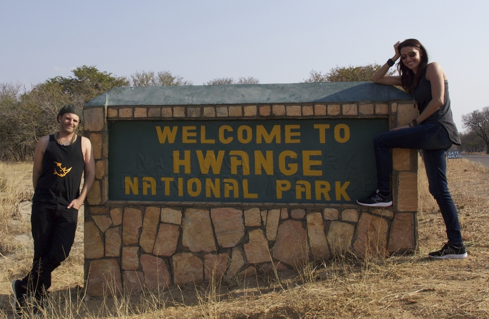 Charlie (Rhinosaverz) & I entering Hwange National Park in Zimbabwe.