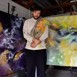Thomas Pomarico - South Bend native and University of Michigan graduate Thomas Pomarico has worked in just about every art medium all over the country. His current focus is abstract painting, in which he tries to blend the experience of life into a single philosophical image.