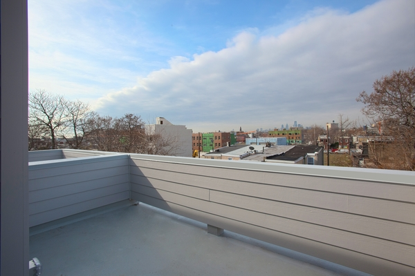 Roof deck with views of Center City.