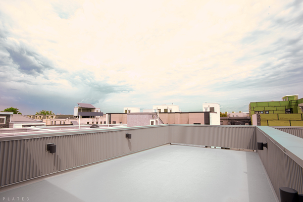 The large roof deck covers most the home. Outside of the pilot house you can see views of Center City and sunsets in the west.