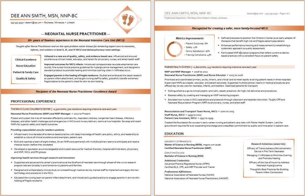 Professional Resume Sample:  Healthcare Resume, Neonatal Nurse Practitioner Resume