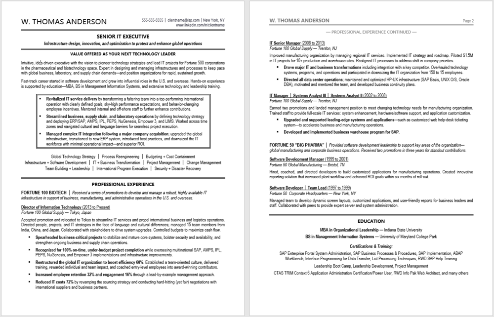 Executive Resume Sample:  Senior Technology Executive Resume